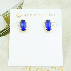 Kendra Scott Ellie earrings cobalt blue gold Sept